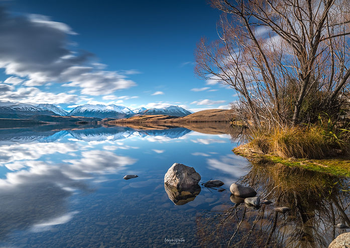 A still afternoon at Lake Alexandrina near Tekapo in New Zealand. Photography by Laurie Winter