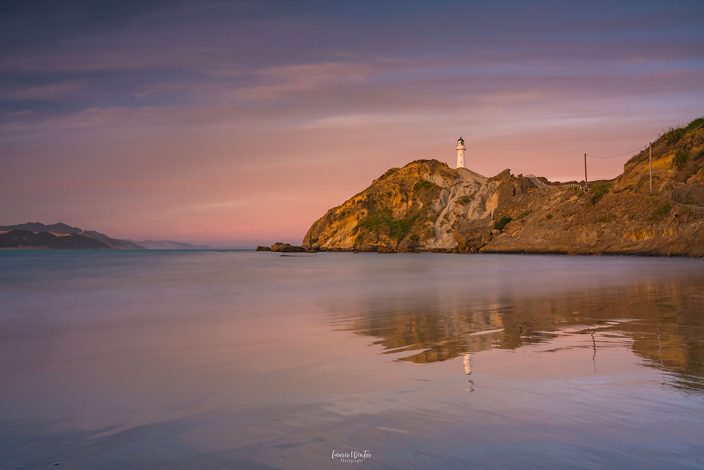 Castlepoint sunset pink skies long exposure