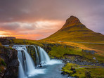 Sunset over Kirkjufellsfoss Iceland