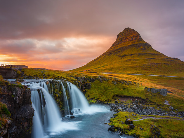 Sunset over Kirkjufellsfoss Iceland