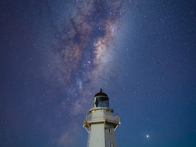 Milky Way over Waipapa Point Lighthouse