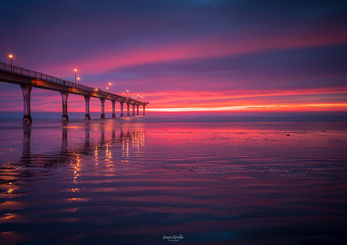 An absolutely stunning sunrise at the New Brighton Pier in Christchurch. New Zealand photography by Laurie Winter.