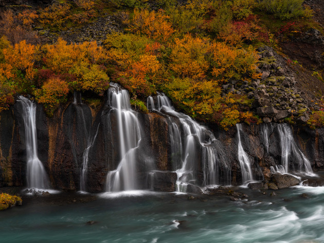 Hraunfossar Autumn Colours Iceland