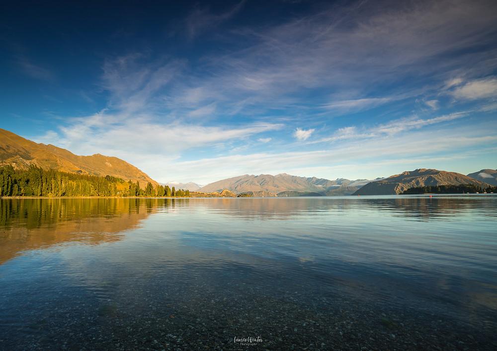 A sunny day at lakefront Lake Wanaka New Zealand