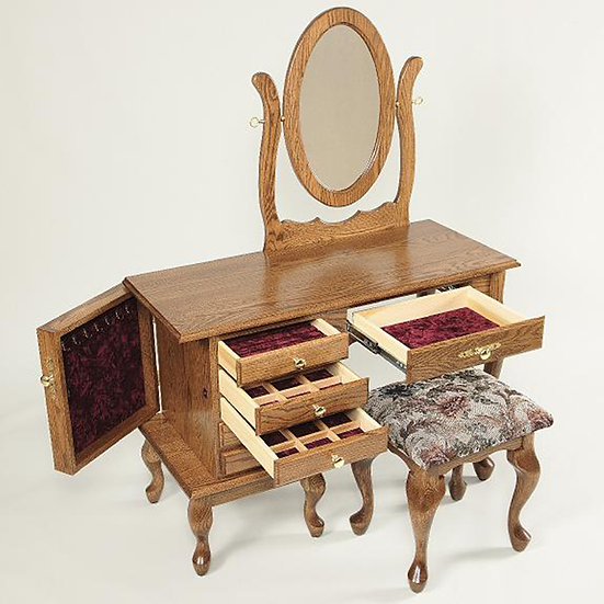 Queen Ann Jewelry Dressing Table with 811 Stool