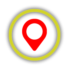 Red loction marker icon with yellow circle aroundi
