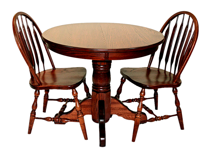 Round Single Pedistal by Country View Oak with Low Paddle Chairs