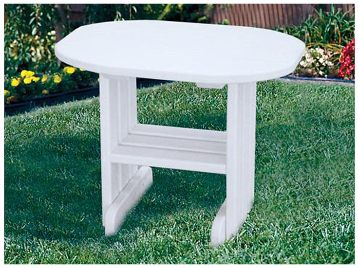 White Poly Outdoor End Table
