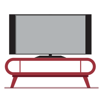Red TV stand with blank flatscreen TV on i