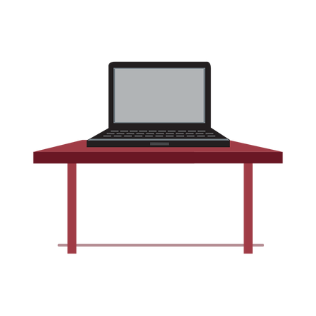 Red table with laptop on it