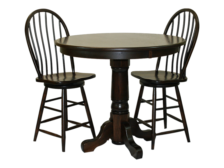 Round Single Pedistal Pub Table by Country View Oak