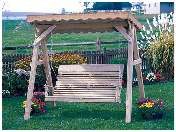 5 Ft Classic Wood A Frame Swing with Cedar Roof