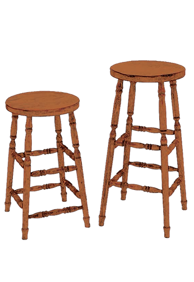 PIO Scoop Seat Stools with Turned Legs