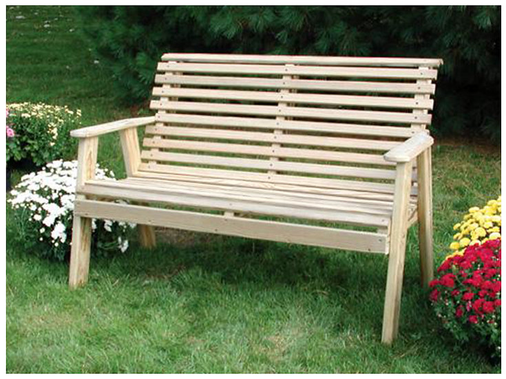 4 Ft Rollback Plain Wood Bench