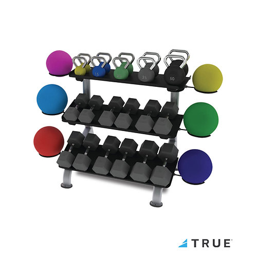3 Tier Flat Tray Dumbbell Rack (True Fitness)