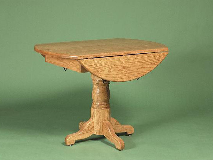 Round Country Pedestal Dropleaf Table