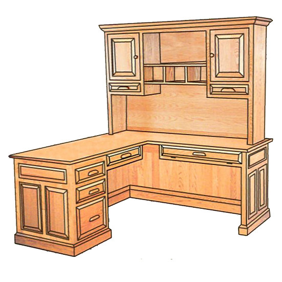 Corner Desk with Hutch Top