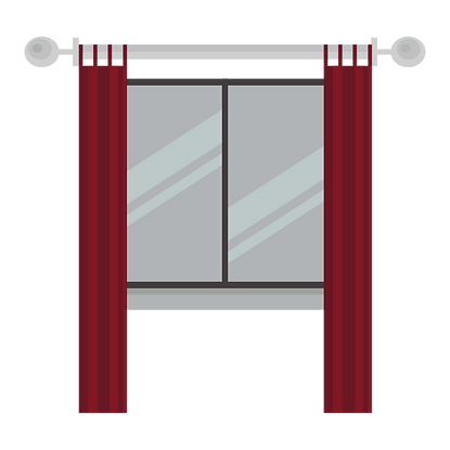 window with red curtains