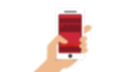 hand carrying smart phone with red screen