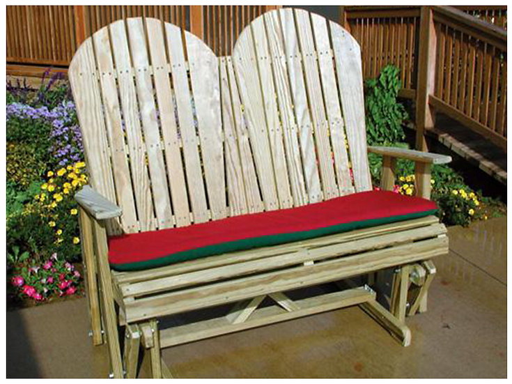 4 Ft Wood Adirondack Glider with Cushion