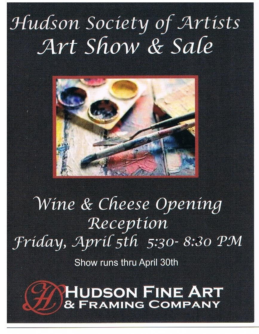 """Eager to see fresh work by local artists? Then April will be a bonanza for you. Cuyahoga Valley Art Center is showing its annual Student & Faculty Exhibition and Hudson Fine Art & Framing Company is featuring the work of the Hudson Society of Artists all month!  And if you'd like to mix and mingle with these exceptional artists then mark April 5th (Hudson) and April 12, (Cuyahoga Falls) on your calendars to attend the artist receptions."" Denny Stoiber"
