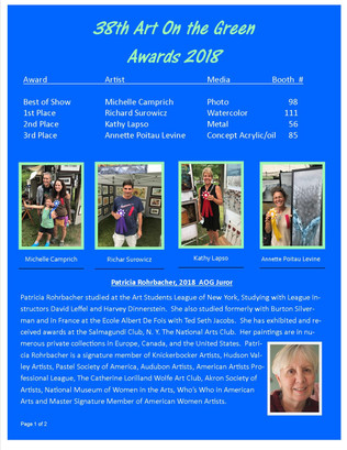 Award Winners for 2018 Art On the Green page 1