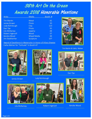 Award Winners for 2018 Art On the Green page 2