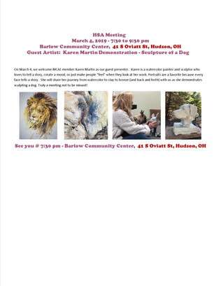 HSA Presents, Karen Martin Demonstration of Dog Sculpture on  March 4th, 2019 at 7:30 pm.