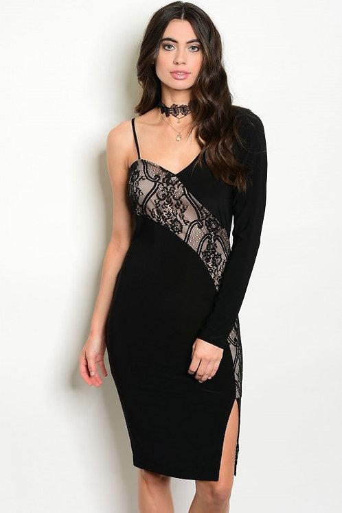 BLACK TAN LACE DRESS