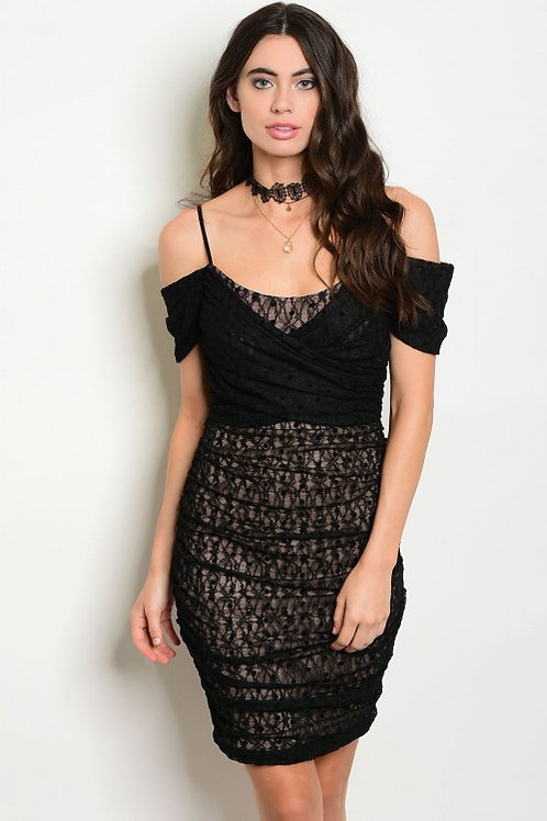 BLACK TAN LACE OFF SHOULDER DRESS