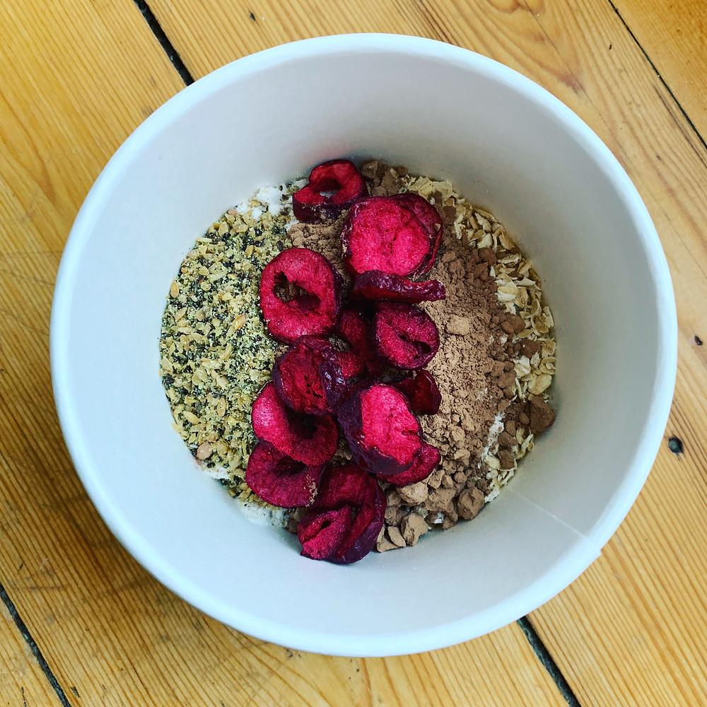 Cherry, cacao and chia porridge