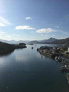 Beautiful view of Kodiak Island channel between Kodiak Island and Near Island