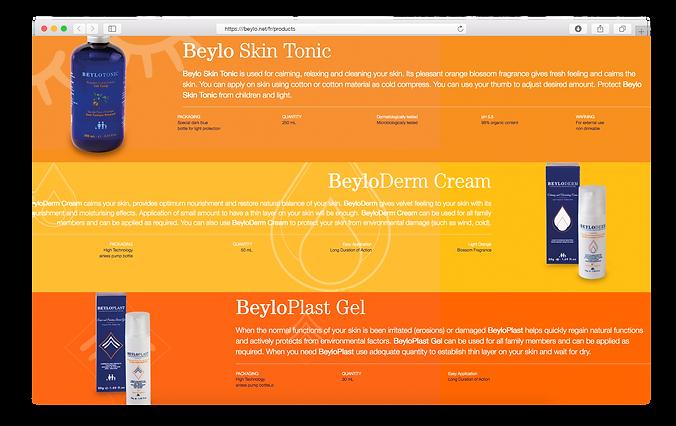 Page produits de la marque Beylo