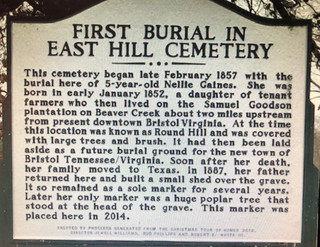 First Burial in East Hill Cemetery