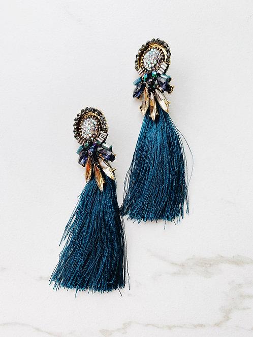 Shiny Blue Tinsel Earrings