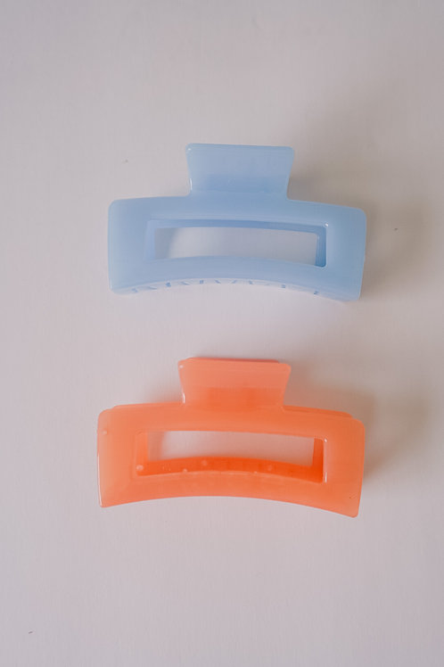 Coral + Pale Blue Large Acrylic Clips