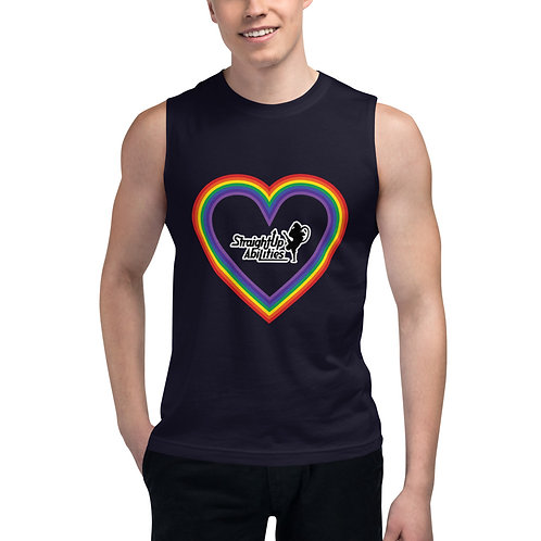 Rainbow Heart SUPA Muscle Shirt