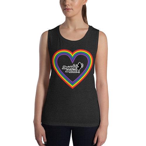 Ladies' Rainbow Heart SUPA Muscle Tank