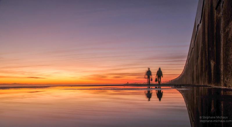 Pêcheurs et reflet à la digue de Tarnos