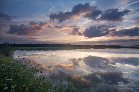 Marais d'Orx, reflets au lever de soleil