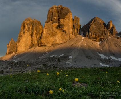 Tre Cime, et trolle des montagnes au coucher de soleil