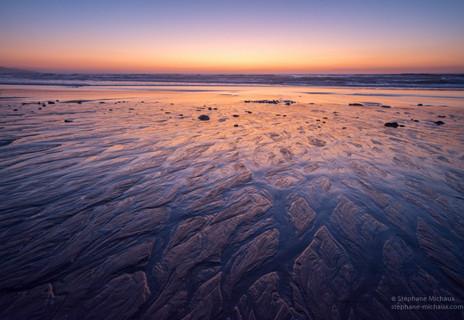 Graphisme de la plage au coucher de soleil