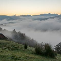 Cabane à Issarbe, et mer de nuages