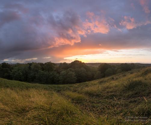 Lumière au coucher de soleil sur le chemin d'herbe
