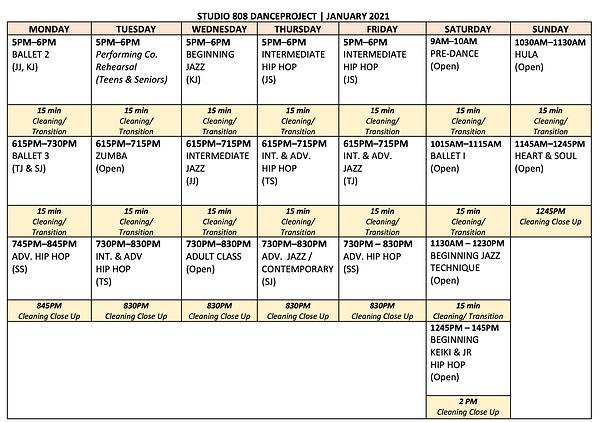 JAN 2021 Schedule