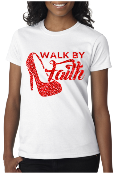 Walk By Faith T-Shirt (Red Glitter with