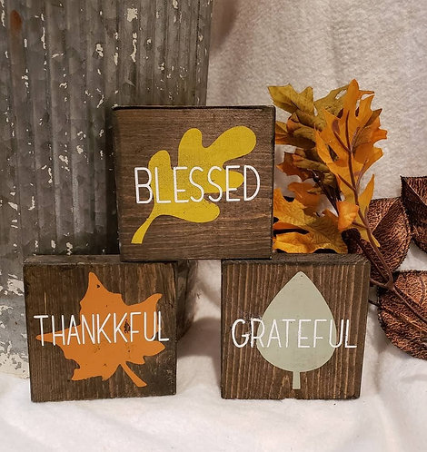 Grateful, Thankful, Blessed - Set of 3