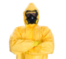 Man in protective hazmat suit. Isolated