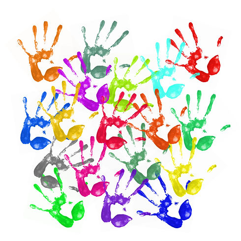 a lot of colorful hand prints on white b