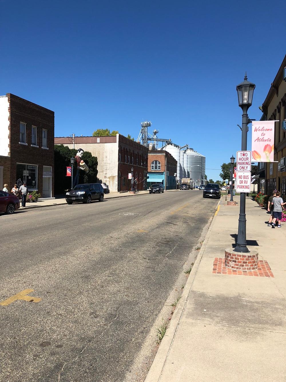 Main Street Atlanta with Corn Silos